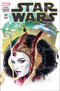 """Queen Amidala, left""  Star Wars #1, sketch cover"