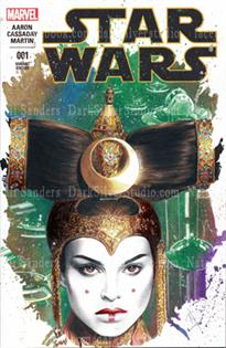 """Queen Amidala, center""  Star Wars #1, sketch cover"